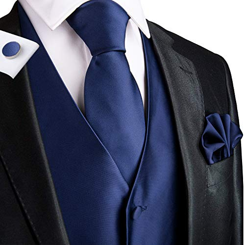 Dubulle Navy Vest and Necktie for Men with Hanky Cufflinks ()