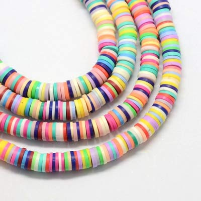 Disc Shaped Multicolor Handmade Polymer Bead Assortment