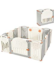 Costzon Baby Playpen, 14-Panel Foldable Kids Safety Activity Center Playard w/Locking Gate, Non-Slip Rubber Bases, Adjustable Shape, Portable Design for Indoor Outdoor Use (Beige + Gray, 14-Panel)