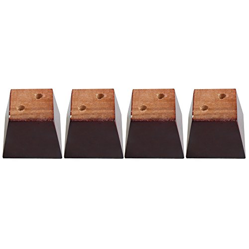 Yibuy 4x Red Brown Pine Wood Trapezoidal Sofa Furniture Leg Lifter 6cm High by Yibuy