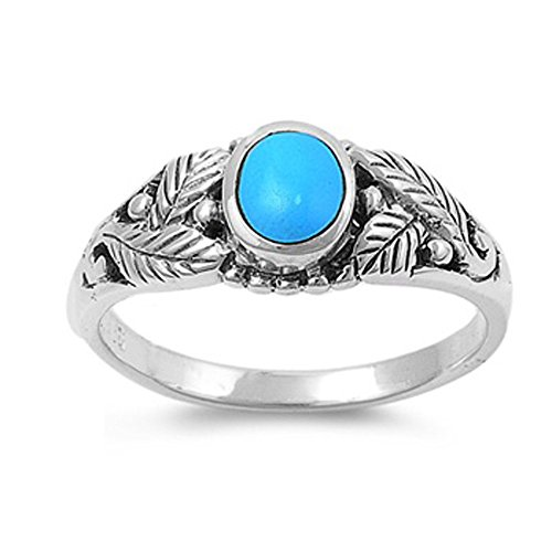 Design Simulated Turquoise Ring 7mm ( Size 5 to 10 ), 9 ()
