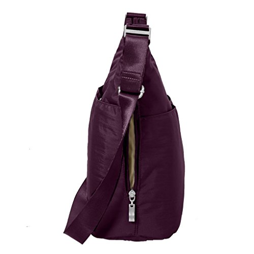 Travel complimentary Crossbody Baggallini wristlet Eggplant Hobo wallet RFID Earphones Bundle Handbag with zOA8wpqxO