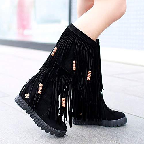 Fringe Zanpa Shoes On Medias Tacon de Mujer Botas Negro Clásico Cuña Pull FEwqHrEx