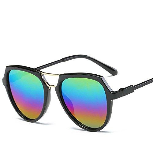 Aoligei Double faisceau lunettes version coréenne fashion lumineux couleur lunettes de soleil réfléchissantes D