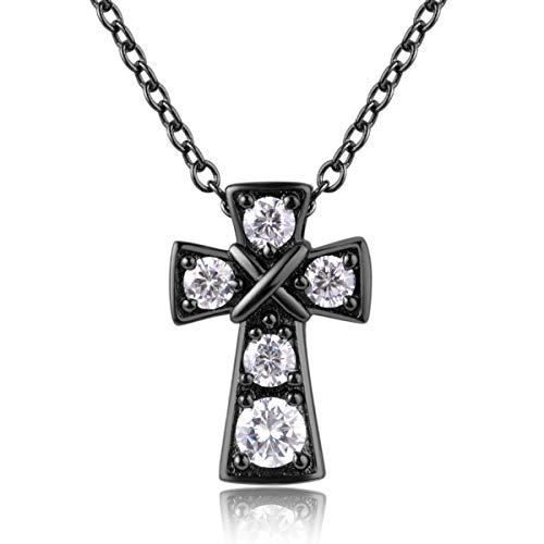 Karseer Black Shiny Christian Cross Pendant Necklace Jewelry with 5 AAA Cubic Zirconia Clear Birthstones Inlaid Religious Fashion Accessory for Women and Girls
