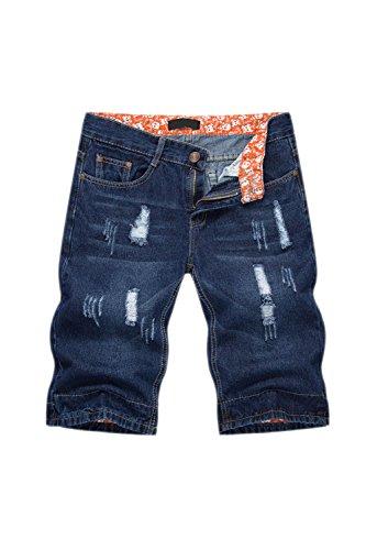 Los Hombres Denim Jeans Short Distressed Hoyos Pantalones Luz Lavada Azul