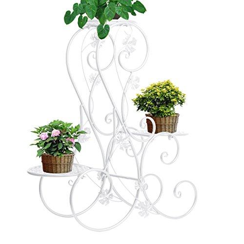 White Stnd (Dazone 3 Tier Wrought Iron Flower stand Indoor Gradening Display-stnds S-type)