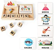KIPPTO Spell Whiz, Matching Letter Game, Wooden Toys with 100 Words,50 Flash Cards,4 DIY Blank Cards. Words Re