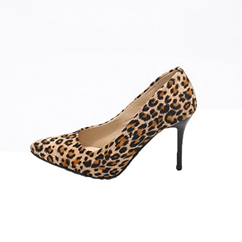VogueZone009 Women's Closed-Toe High-Heels Imitated Suede Pull-On Pumps-Shoes Yellow VUAYgTAoEg
