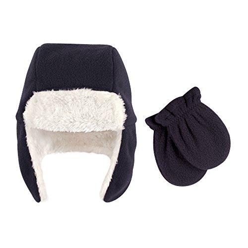Hudson Baby Baby Fleece Trapper Hat and Mitten Set, Navy, 6-12 (Fleece Baby Fleece Hat)