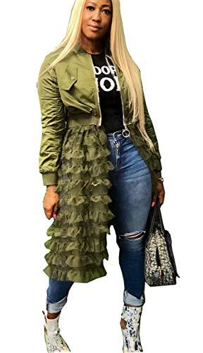(MONASAMA Women's Fashion Bomber Jacket Patchwork Zip up Open Front Ruffle Sheer Mesh Cardigan Midi Dress Army Green XL)