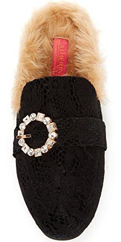 Catherine Catherine Malandrino Sturning Femmes Mode Fausse Fourrure Slip-on Mocassin Mule Noir Dentelle