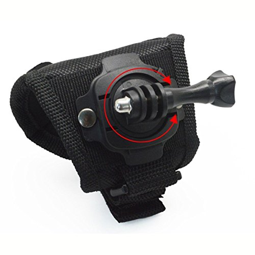 Aokland Black Large Size 360° Rotate Glove Style Wrist Strap Mount Band With Screw for GoPro Hero 3+ 3 2 1