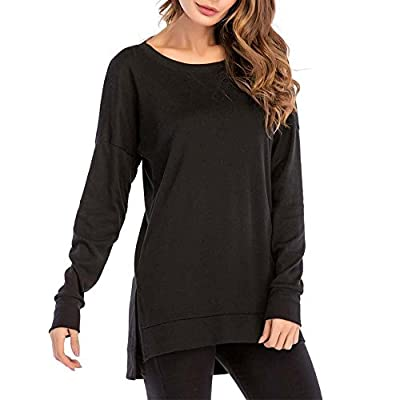 MissyLife Women's Long Sleeve T Shirts Side Split Casual Loose Pullover Tunic Tops