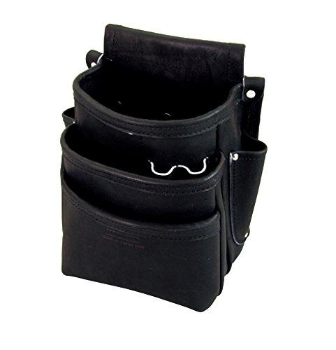 ニックス 総グローブ皮仕上腰袋フチ/総グローブ革テープ巻(ブラック) KB-301DDSP B01IV9DWI8