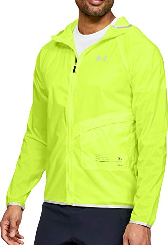 Under Armour Qualifier Storm Packable Mens Running Jacket - Yellow-M