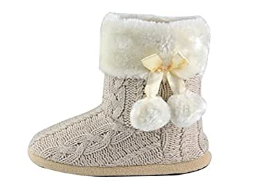 Ladies Slippers Womens Indoor Slipper Boots with knitted upper and Pom Poms (Small-US 5-6, Beige)