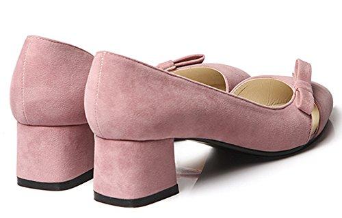 Slip D Chunky Mid Heels Elegant Bows Womens Pumps Easemax On Orsay Pink xawq8gYT