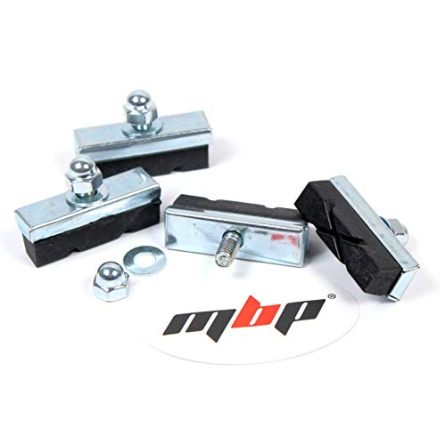 MBP Bicycle Center Pull Caliper Brake Style Bolt Vintage, Road and BMX Brake Pads (4 Pads)