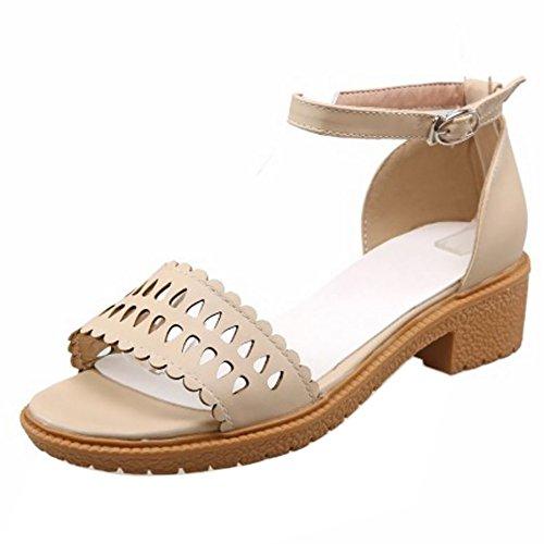 Coolcept Mujer Moda Al Tobillo Sandalias Punta Abierta Tacon Ancho Zapatos Albaricoque