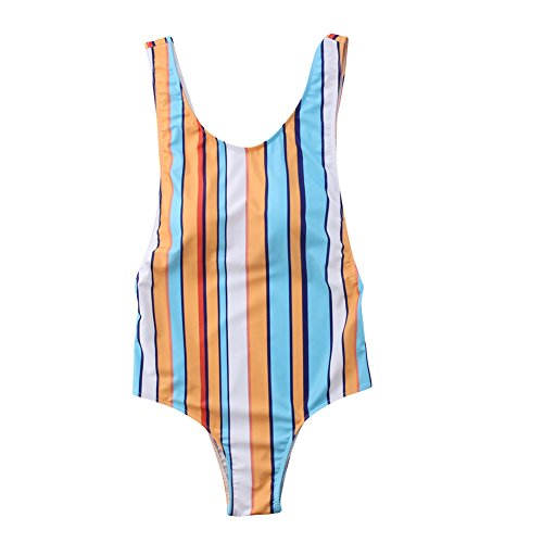 Mother Daughter Stripe Family Matching Swimwear One Piece Swimsuit Bathing Suit (L, -