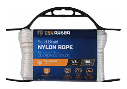 MIBRO Group (The) 642161 Solid Braided Nylon TG 1/8x100 WHT NYL Rope ()
