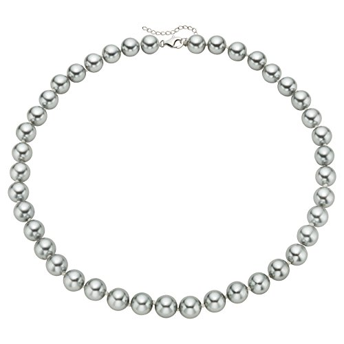 Sterling Silver Grey Shell Pearl Strand Necklace (12mm) - Gift for Women