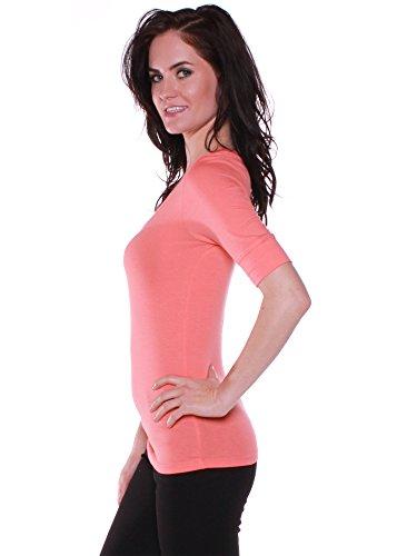 Emmalise Women's Cotton Blend V Neck Tee Shirt Half Sleeves - Peach, L Accessory T-shirt