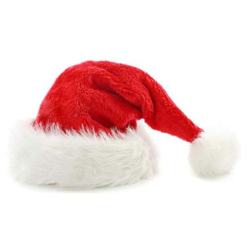 JIKF-shirt Plush Christmas Hats Christmas Holiday Xmas Cap for Santa Claus red OneSize