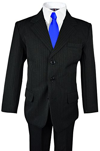 Navy Blue Gray Pinstripe (Boys Pinstripe Suit with Matching Tie Size 2-20 (7, Black with Blue Tie))