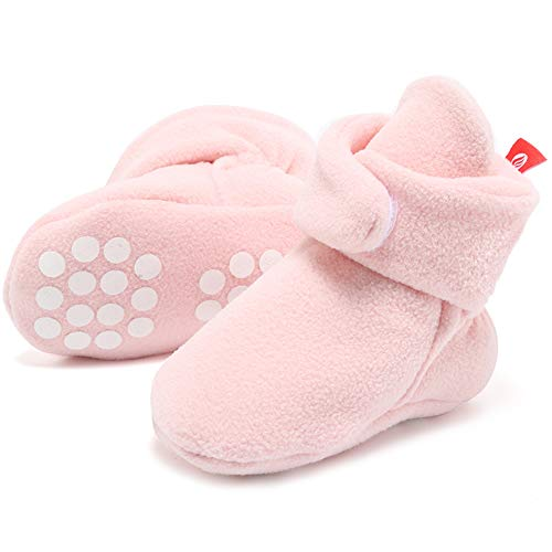 FANTINY Newborn Baby Cozy Fleece Booties with Non Skid Bottom,DNDXBX,Light Pink,12