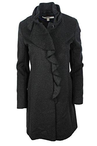 DKNY Women's Black Ruffled Warm Wool Blend Fitted Coat, 6P -