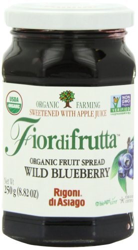 Rigoni Di Asiago Fiordifrutta Organic Fruit Spread,  Wild Blueberry,  8.82 Ounce, (Pack of 6)