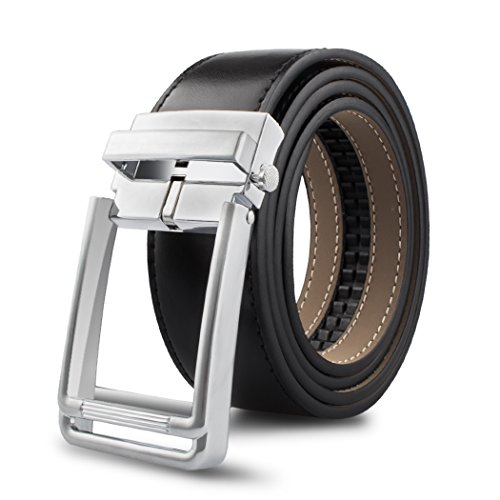 "Men's Leather Ratchet Dress Belt with Automatic Buckle 1.3"" Wide (Waist: 32-36, Black A) ()"