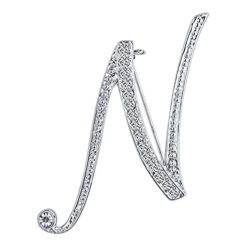 Axmerdal Silver Alloy 26 Alphabet English Letters Crystal Initial Charms Brooch Pin Men Women Gift Jewelry (N)