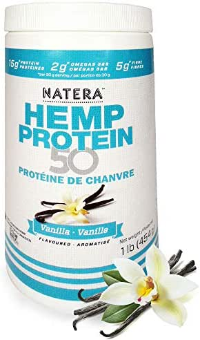Try Vanilla Hemp Protein (1 lbs), Plant Based Supplement, Keto Protein Powder with Omega 3 and 6, NATERA Vegan Protein, Non-GMO, Made in Canada