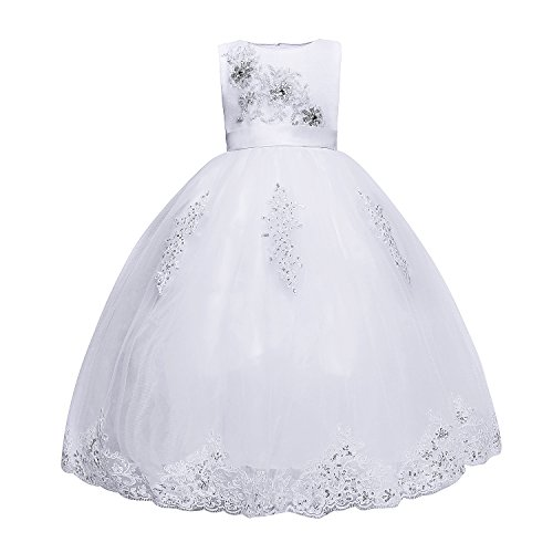Amberry Little Big Girl's Embroidered Flower Communion Dress C06D (Little Girl Communion Dresses)
