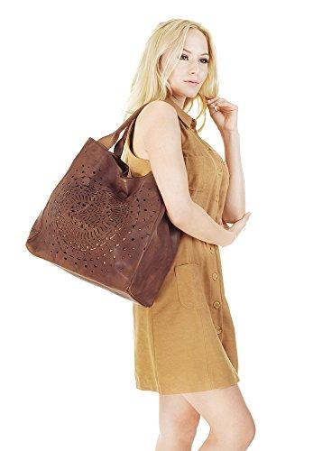SAMANTHA LOOK Shopper ECHT LEDER cognac Damen Groß 018971
