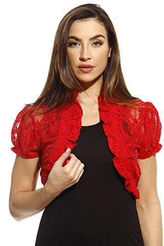 2502-RED-L Just Love Shrug / Shrugs / Women Cardigan,Red With Lace,Large