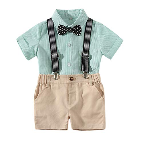 Boy Suitcases for Kids,Londony ❤ღ♕ Newborn Baby Boys Gentleman Clothes Rompers Small Suit Bodysuit Outfit with Bow Tie Green
