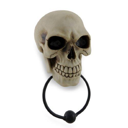 Resin Door Knockers Gothic Skull Face Sculptural Door Knocker 4.25 X 9 X 3 Inches Off-White (Off Door Knockers)
