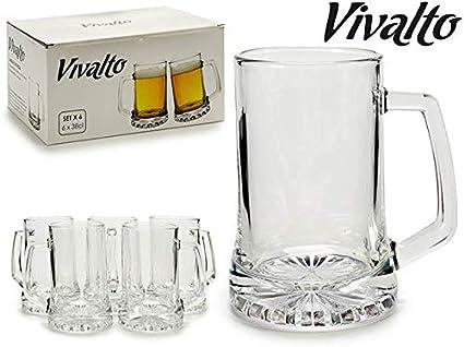 Vivalto Juego 6 jarras Cerveza Cristal 380ml