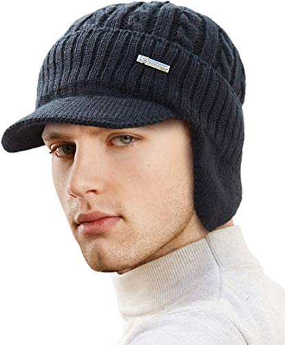 LCZTN Mens Outdoor Winter Visor Beanie Hat with Earflaps Fleece Lined Knit Brimmed Ski Cap (Black)