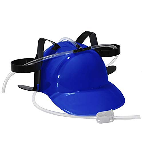 NiceWave Guzzler Drinking Helmet and Can Holder Drinker Hat Cap with Straw for Beer and Soda for Party Football Games Halloween Christmas Fun (Blue) Fun Toy for Kids]()