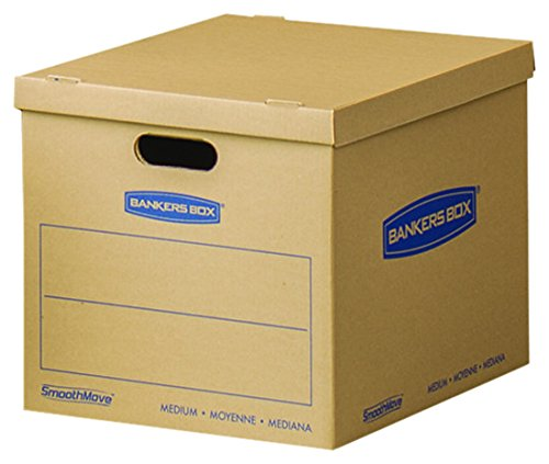 Bankers Box SmoothMove Classic Moving Boxes, Tape-Free Assembly, Easy Carry Handles, Medium, 18 x 15 x 14 Inches, 10 Pack (8817201)