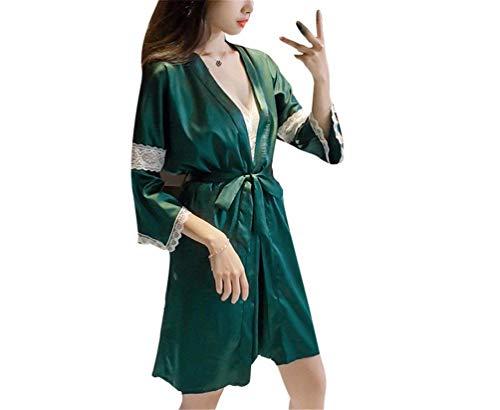 Pijamas Y Falda Traje Elegante Verde De Mujer Suelta Dos Transpirable Ropa Camisón Camisa Seda Piezas rPXwrqxEnC