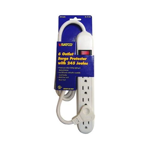 Satco 91-220 6 Outlet Power Strip Standard Surge Supressor ...
