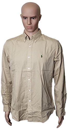 Polo Ralph Lauren Mens Solid Poplin Sport Shirt (L, Biege)