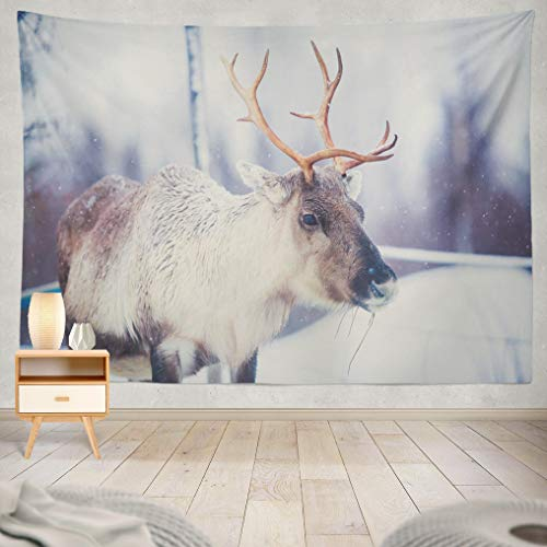 ASOCO Tapestry Wall Handing Group Herd of Caribou Reindeers Pasturing in Snowy Landscape Northern Finland Wall Tapestry for Bedroom Living Room Tablecloth Dorm 60X80 Inches ()
