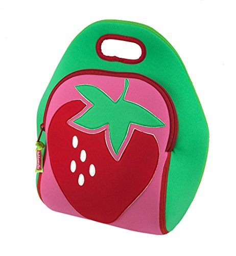 Dabbawalla Bags Strawberry Fields Kid's Insulated Washable & Eco-Friendly Lunch Bag Tote Pink/Green